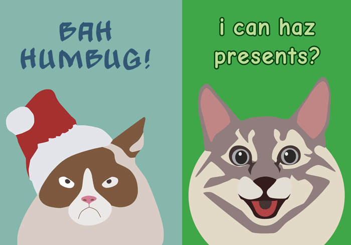 Happy Cat / Grumpy Cat Christmas Card 2016